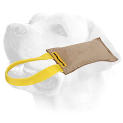 Leather Dog Bite Tug With One Handle For Labrador