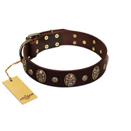 """Breaking the Horizon"" FDT Artisan Brown Leather Labrador Collar with Engraved Studs and Medallions"