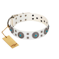 """Blue Sapphire"" Designer FDT Artisan White Leather Labrador Collar with Round Plates and Square Studs"
