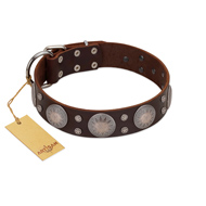 """Imperial Legate"" FDT Artisan Brown Leather Labrador Collar with Big Round Plates"