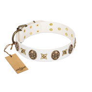 """Fads and Fancies"" FDT Artisan White Leather Labrador Collar with Stars and Skulls"