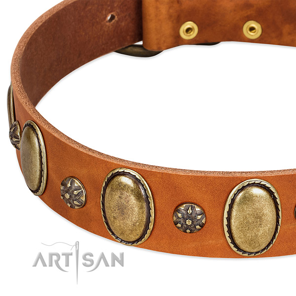 Comfy wearing soft genuine leather dog collar