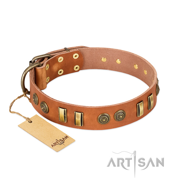 Rust resistant hardware on natural leather dog collar for your canine
