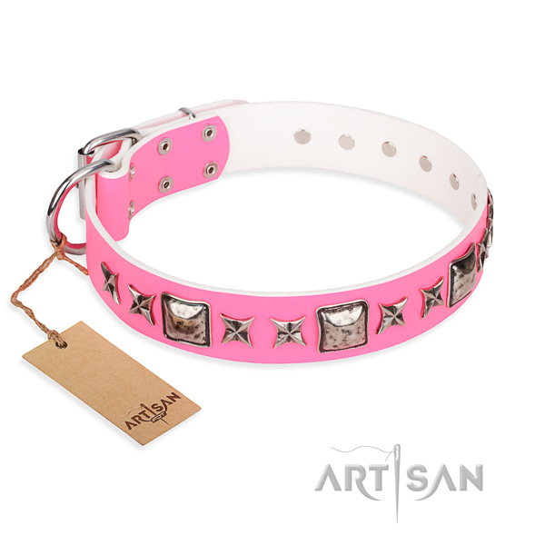 Natural genuine leather dog collar made of gentle to touch material with reliable D-ring