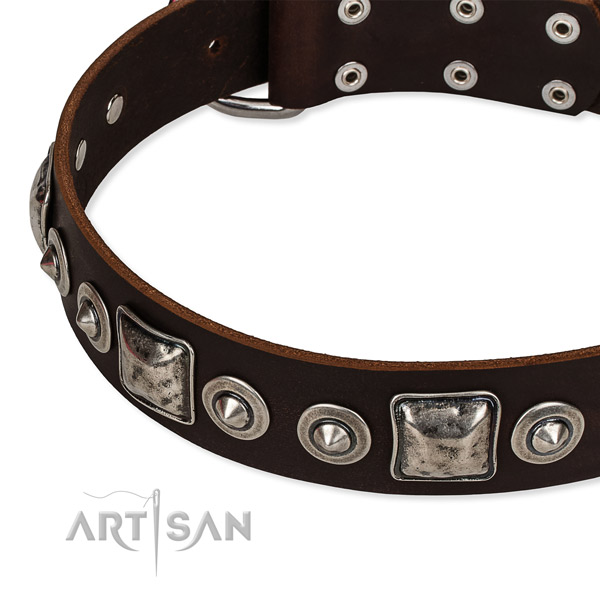 Natural genuine leather dog collar made of flexible material with studs