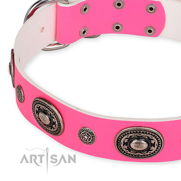 Durable natural genuine leather dog collar handcrafted for your attractive canine