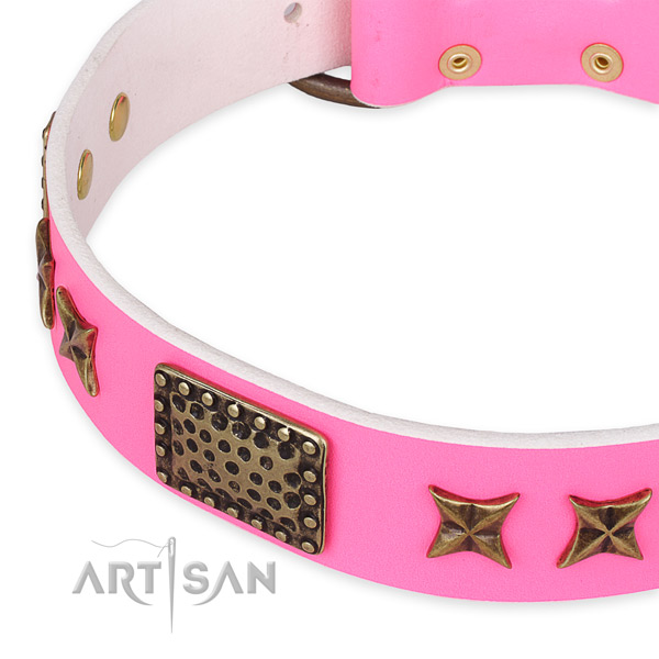 Full grain genuine leather collar with durable hardware for your stylish canine
