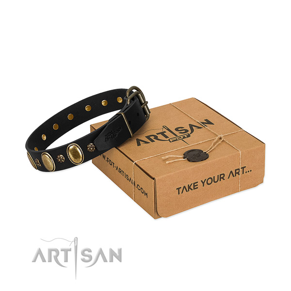 Easy wearing quality leather dog collar with decorations