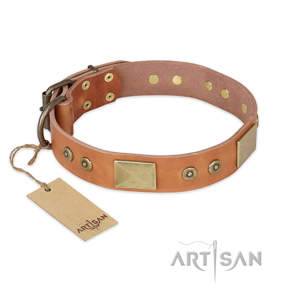 Stunning natural genuine leather dog collar for easy wearing