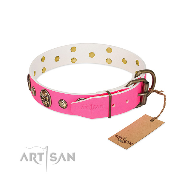 Strong fittings on natural genuine leather dog collar for your pet