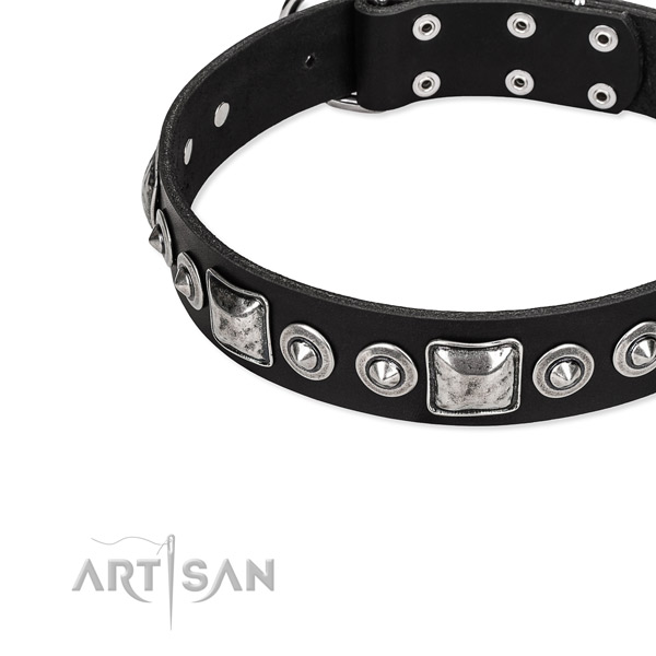 Genuine leather dog collar made of top rate material with studs