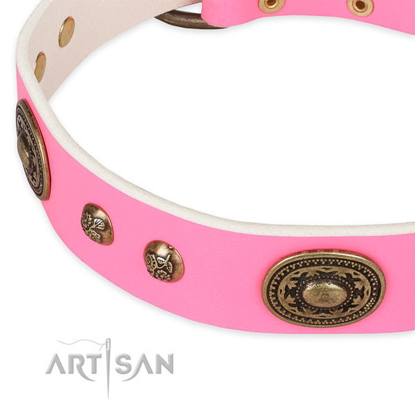 Top notch full grain genuine leather collar for your lovely pet