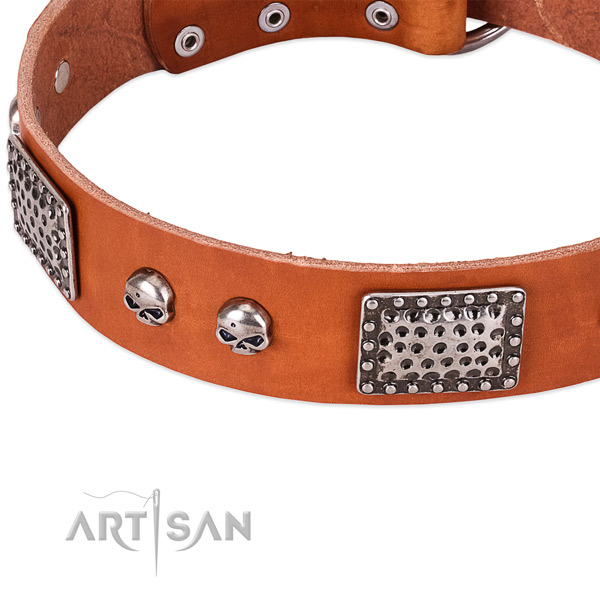 Corrosion proof D-ring on full grain genuine leather dog collar for your pet