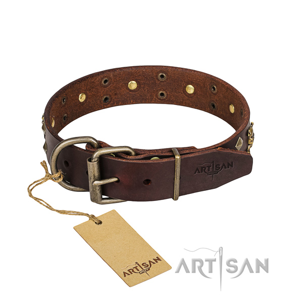 Basic training dog collar of top quality natural leather with decorations