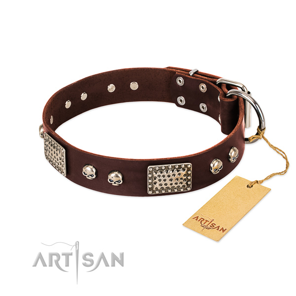 Easy wearing full grain natural leather dog collar for daily walking your canine