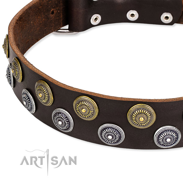 Comfortable wearing adorned dog collar of high quality natural leather