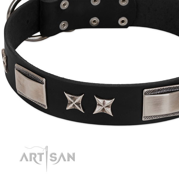 Soft to touch full grain genuine leather dog collar with rust resistant hardware