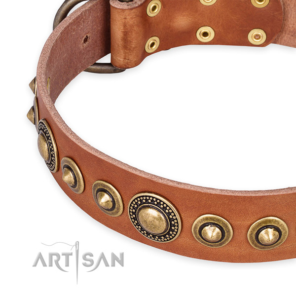 Flexible full grain genuine leather dog collar created for your stylish dog