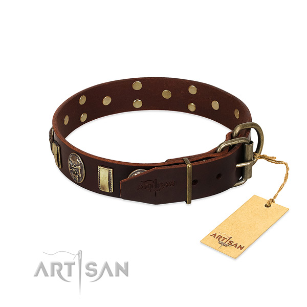 Natural genuine leather dog collar with rust-proof D-ring and embellishments