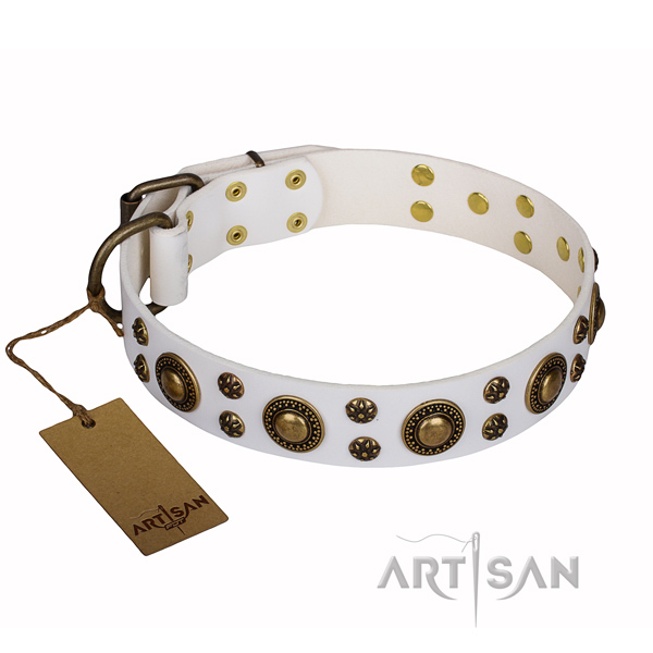 Comfy wearing dog collar of best quality full grain leather with decorations