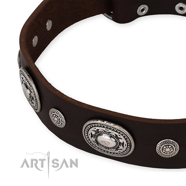 High quality genuine leather dog collar made for your stylish doggie