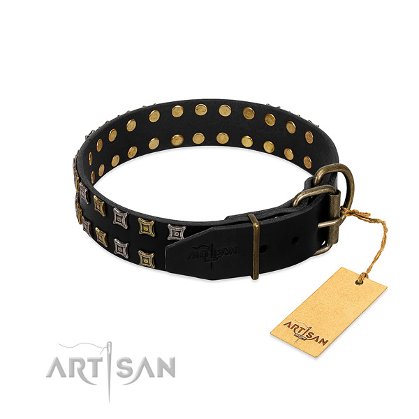 Soft to touch genuine leather dog collar made for your canine