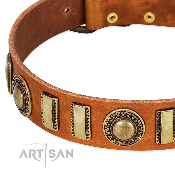 Top rate full grain natural leather dog collar with strong hardware