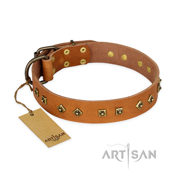 Awesome full grain genuine leather dog collar with durable hardware