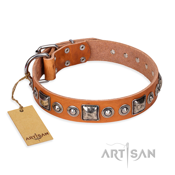 Full grain natural leather dog collar made of quality material with corrosion proof buckle