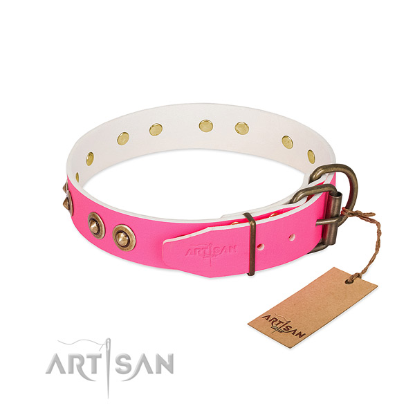 Full grain genuine leather dog collar with rust-proof fittings and decorations