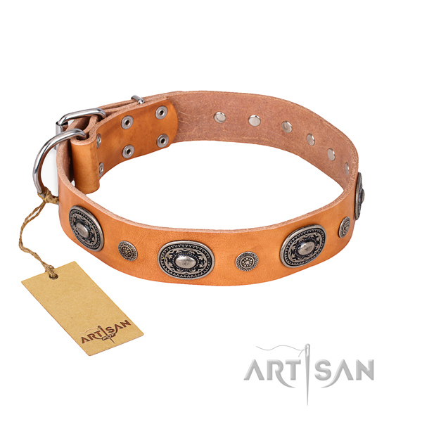 Reliable natural genuine leather collar made for your canine