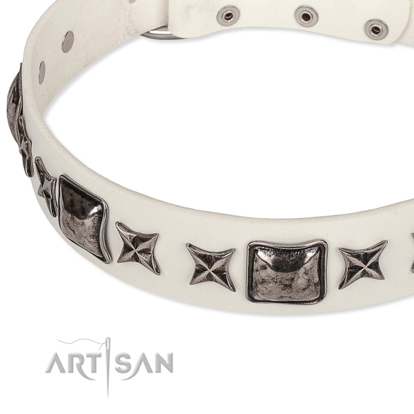 Comfy wearing decorated dog collar of top quality full grain genuine leather