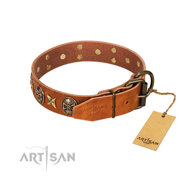 Natural genuine leather dog collar with reliable traditional buckle and decorations
