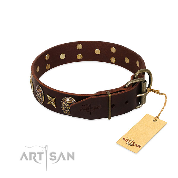 Leather dog collar with durable buckle and decorations