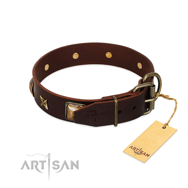 Full grain genuine leather dog collar with rust resistant buckle and embellishments
