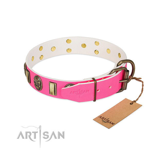 Reliable traditional buckle on natural genuine leather dog collar for your doggie