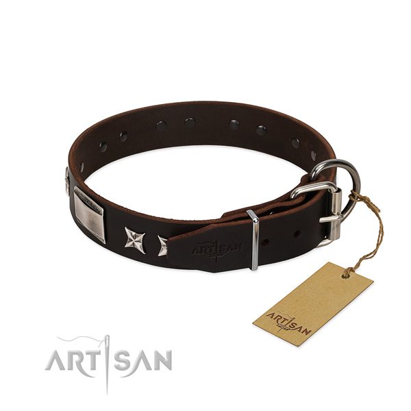 Designer collar of full grain genuine leather for your attractive doggie