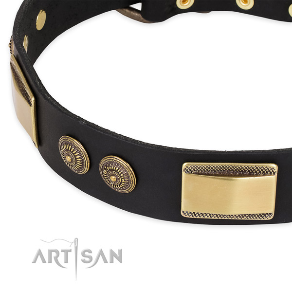Inimitable full grain natural leather collar for your beautiful dog