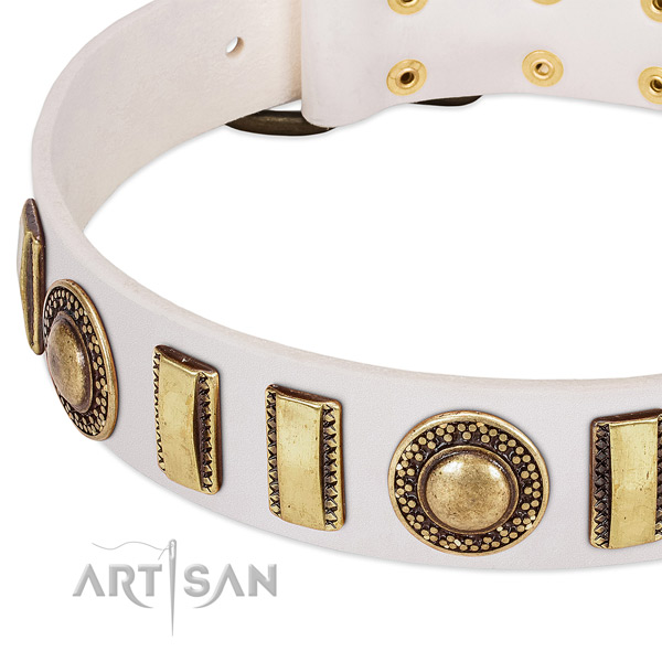 Gentle to touch natural leather dog collar with corrosion proof buckle