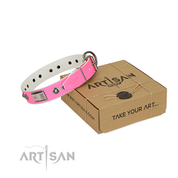 Easy to adjust dog collar of full grain natural leather with adornments