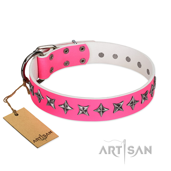 Reliable full grain leather dog collar with designer adornments