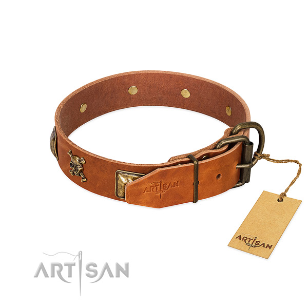 Exquisite full grain natural leather dog collar with corrosion proof adornments