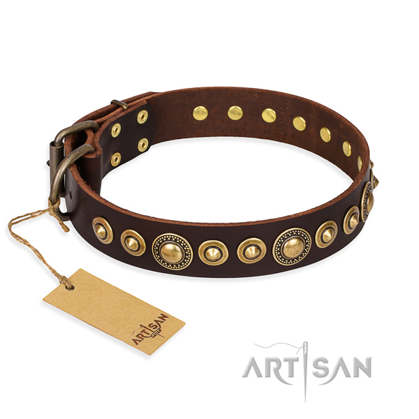 Reliable full grain natural leather collar handcrafted for your doggie