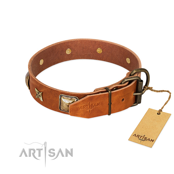 Full grain leather dog collar with rust-proof buckle and decorations