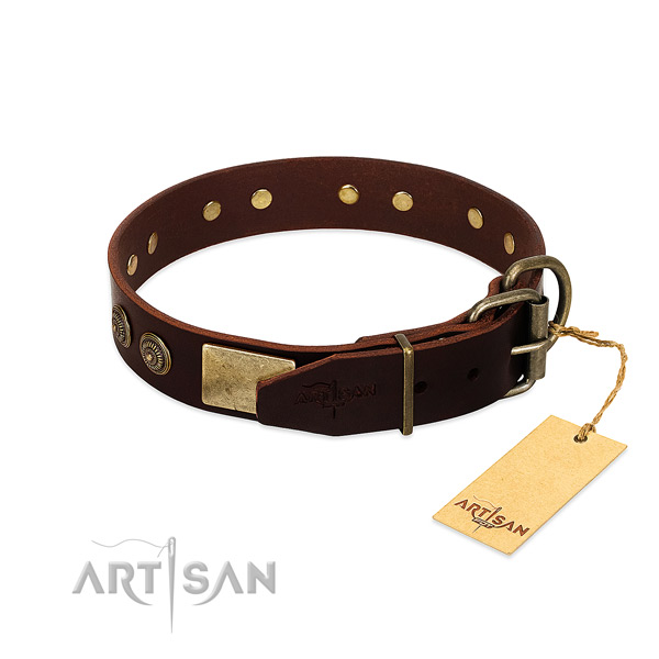Rust resistant embellishments on genuine leather dog collar for your canine