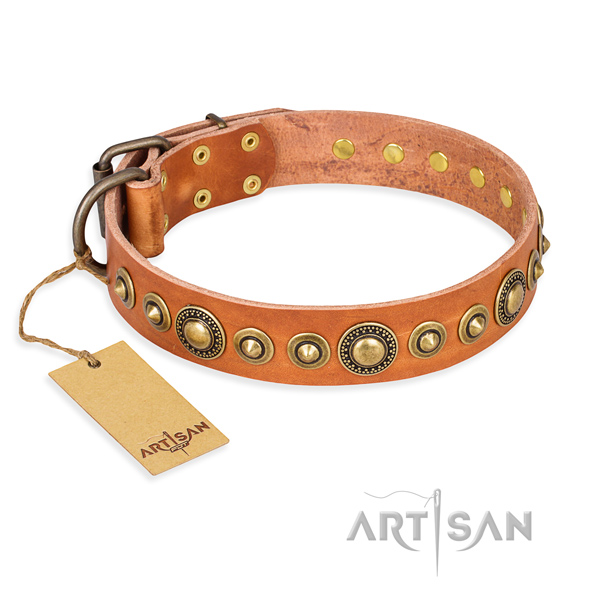 Best quality full grain leather collar handmade for your canine