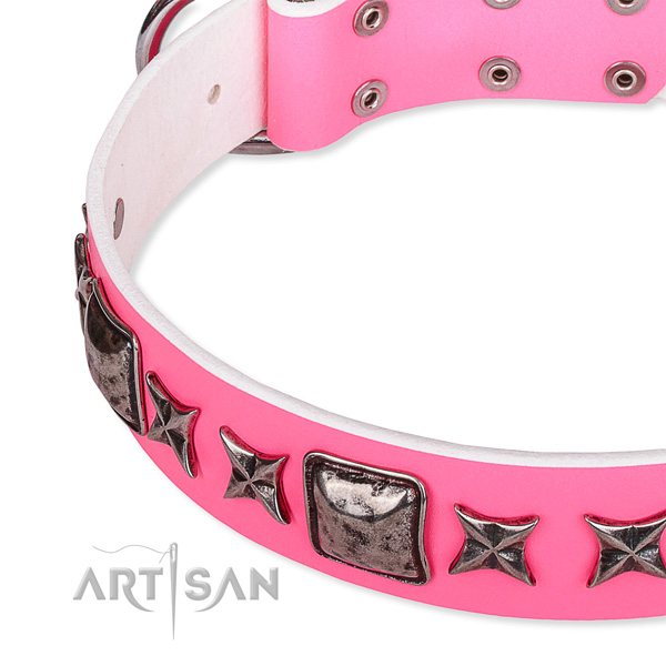 Walking decorated dog collar of best quality full grain leather