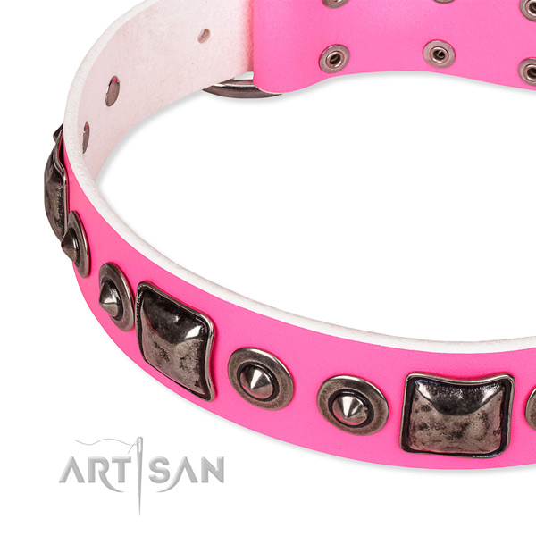 Soft full grain leather dog collar handmade for your impressive doggie