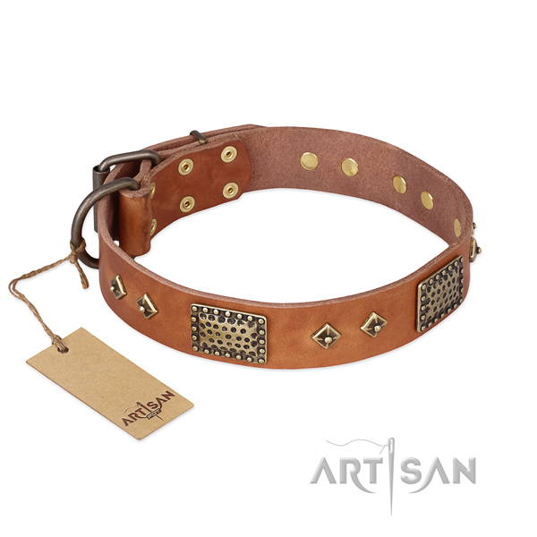 Impressive full grain natural leather dog collar for comfortable wearing