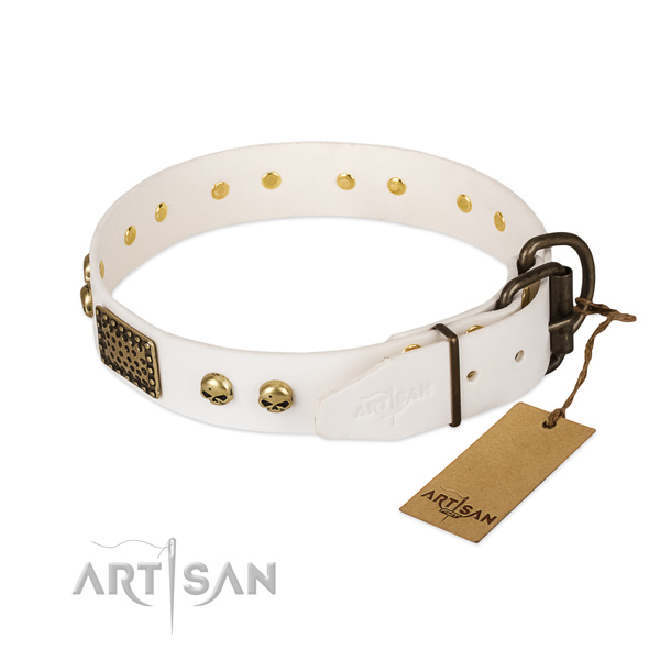 Easy adjustable natural leather dog collar for daily walking your doggie
